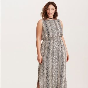 ABSTRACT BORDER PRINT STRETCH CHALLIS MAXI DRESS